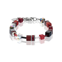 COEUR DE LION GEO CUBE BRACELET-RED/BLACK- 4014/30-0312