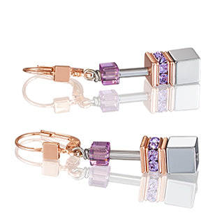 COEUR DE LION GEO CUBE EARRINGS - LILAC - 4017/20-0829