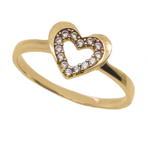 Cubic zirconia heart ring in 9ct gold
