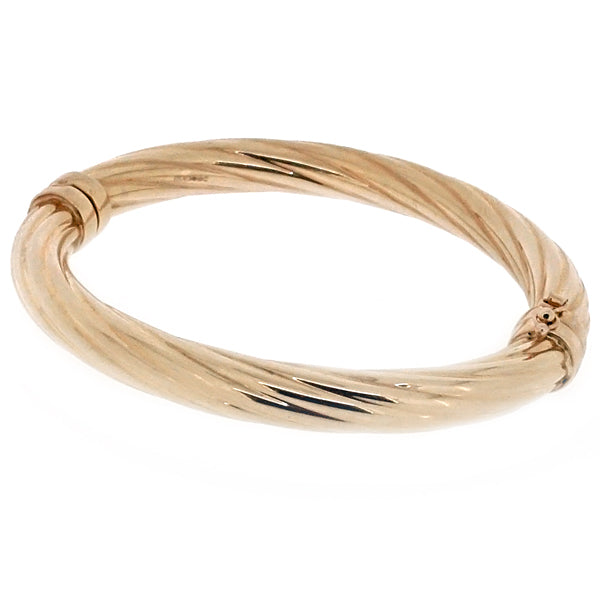 Twisted hinged bangle in 9ct gold