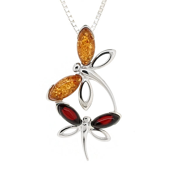Amber dragonflies pendant and chain in silver