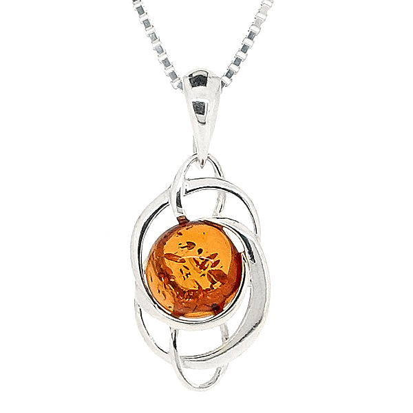 Amber spiral design pendant and chain in silver