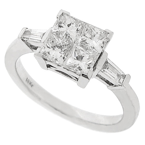 Princess cut diamond cluster ring in 18ct white gold, 1.20ct