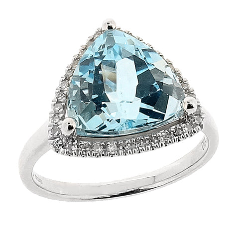 Blue topaz and diamond triangular cluster ring in 9ct white gold
