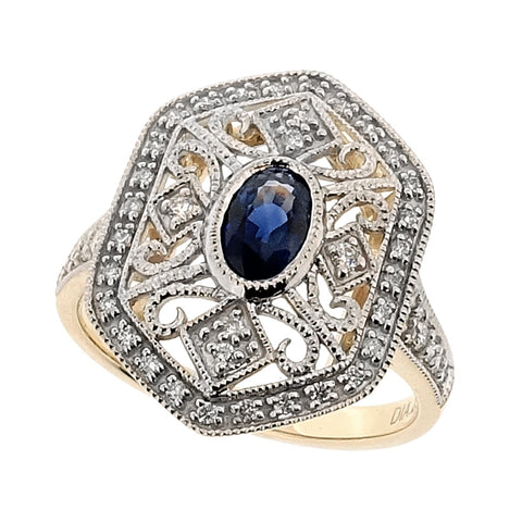 Sapphire and diamond 'deco-style' cluster ring in 9ct gold