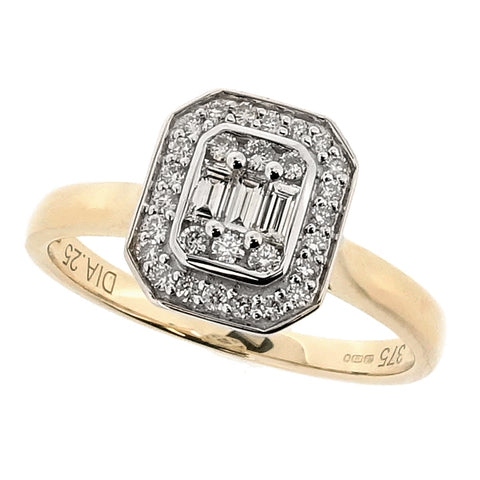 Diamond rectangular cluster ring in 9ct gold, 0.25ct