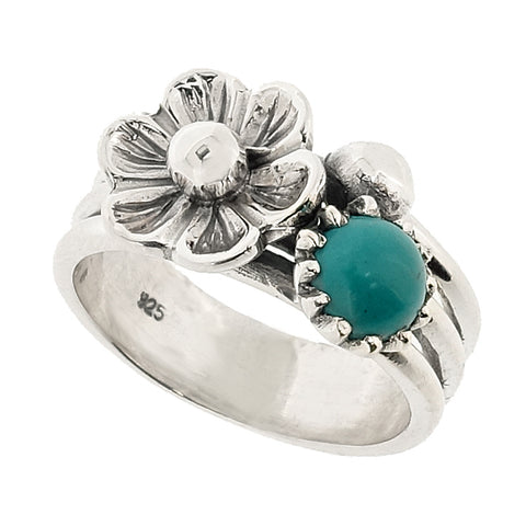 Turquoise floral design dress ring in silver