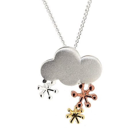 Cloud and snowflakes pendant and chain in silver