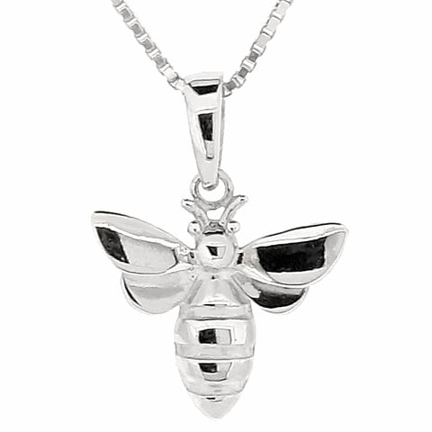 Bee pendant and chain in silver