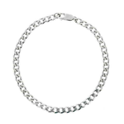 Curb bracelet in 9ct white gold