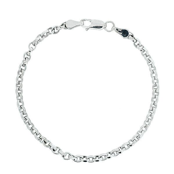 Belcher link bracelet in 9ct white gold