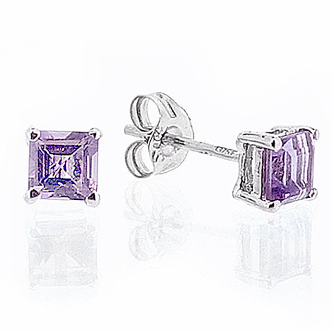 Amethyst square stud earrings in 9ct white gold