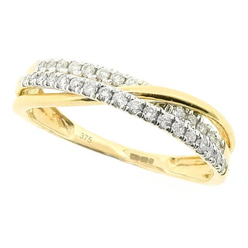 Diamond crossover band ring in 9ct gold, 0.22ct