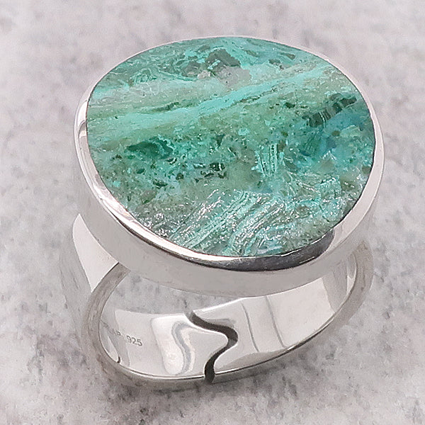 Chrysocolla dress ring in silver