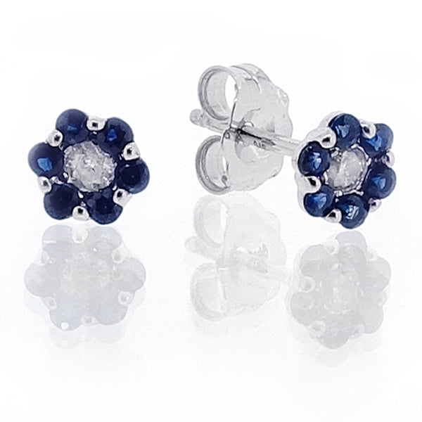 Sapphire and diamond floral cluster earrings in 9ct white gold