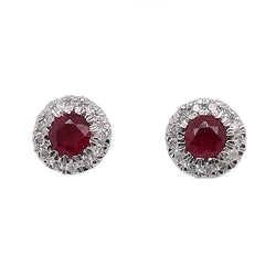 Ruby and diamond cluster earrings in 9ct white gold
