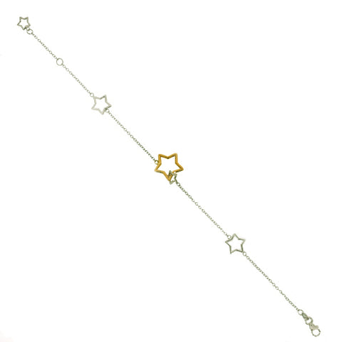 Star detail bracelet in 9ct white and yellow gold