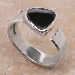Triangular Whitby Jet dress ring in silver