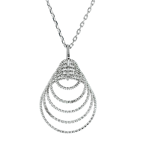 Concentric circle pendant and chain in silver