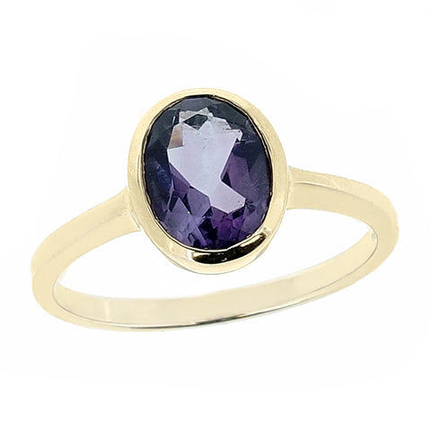 Amethyst rubover set solitaire ring in 9ct yellow gold