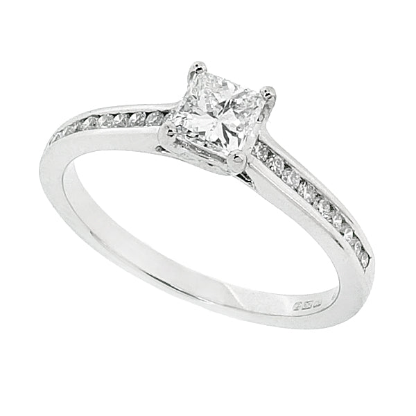 9bb5ed401d4c45 Princess cut diamond ring with diamond set shoulders in 18ct white gold,  0.52ct