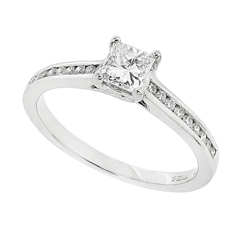 Princess cut diamond ring with diamond set shoulders in 18ct white gold, 0.52ct