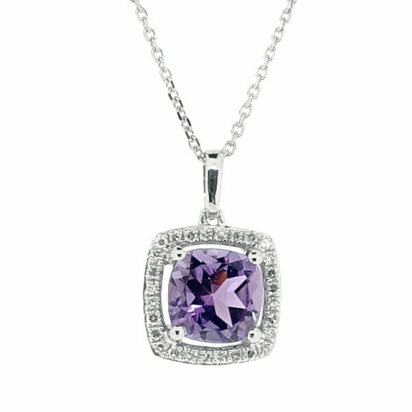 Amethyst and diamond cluster pendant and chain in 9ct white gold