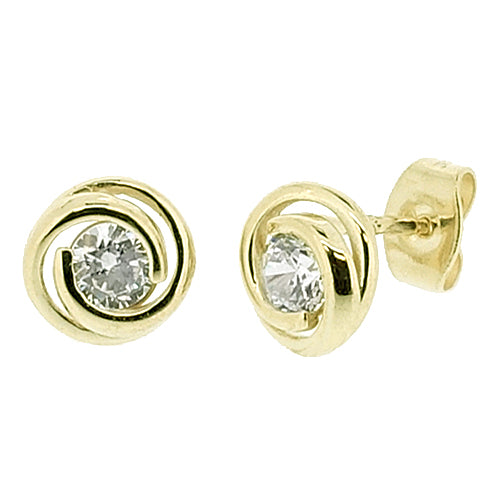Cubic zirconia spiral earrings in 9ct yellow gold