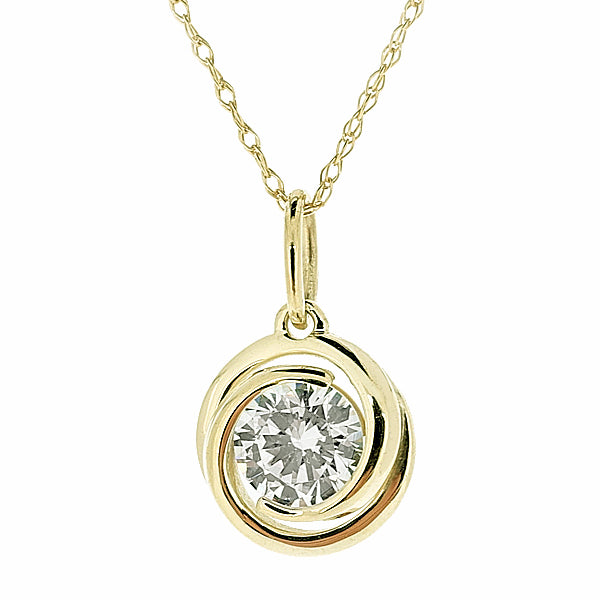 Cubic zirconia spiral pendant and chain in 9ct yellow gold