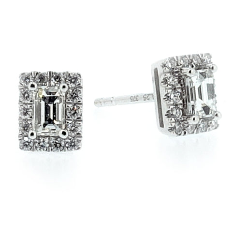 Rectangular diamond cluster earrings in 9ct white gold, 0.50ct