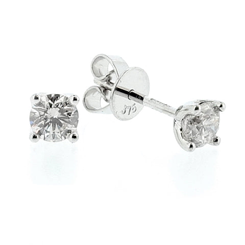 Brilliant cut diamond solitaire earrings in 9ct white gold, 0.50ct