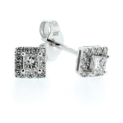 Princess cut diamond cluster earrings in 9ct white gold, 0.25ct