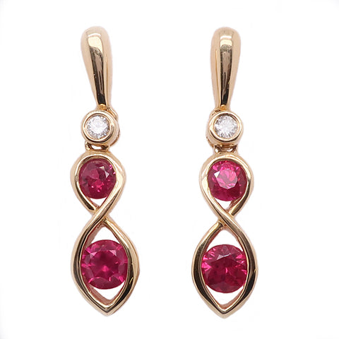 Ruby and diamond drop earrings in 18ct gold