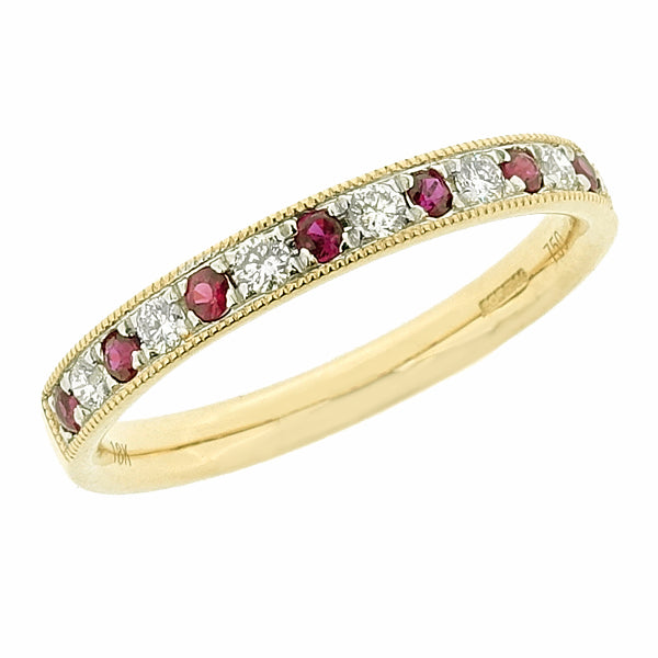 Ruby and diamond half eternity ring in 18ct yellow gold