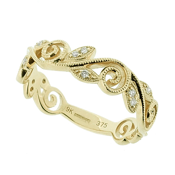 Diamond set floral band ring in 9ct yellow gold, 0.08ct