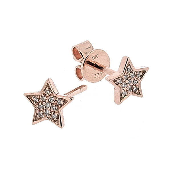 Diamond set star earrings in 9ct rose gold, 0.05ct