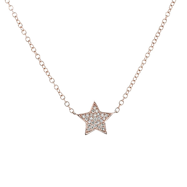 Diamond set star necklace in 9ct rose gold, 0.05ct