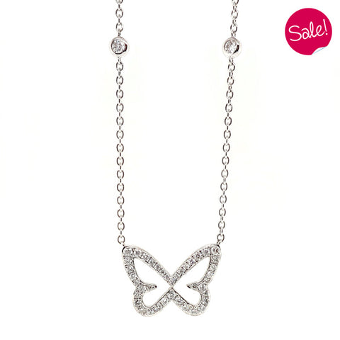 Diamond butterfly necklace in 9ct white gold, 0.22ct