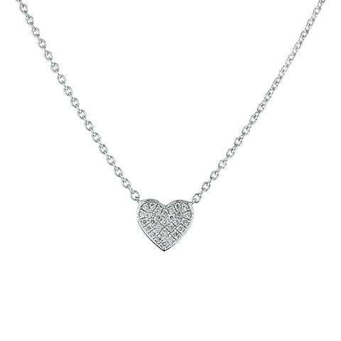 Diamond set heart necklace in 9ct white gold, 0.06ct
