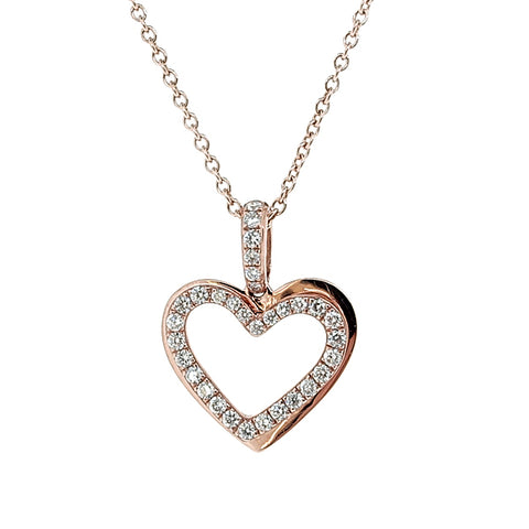 Diamond set heart pendant and chain in 9ct rose gold, 0.25ct