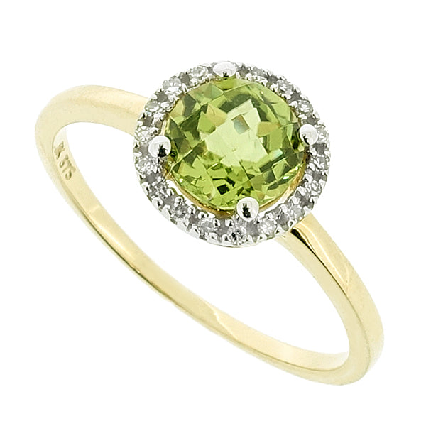 Peridot and diamond halo cluster ring in 9ct yellow gold