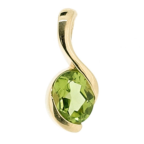 Peridot twist design pendant in 9ct yellow gold