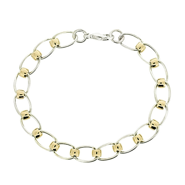 Roller curb bracelet in silver and 9ct gold