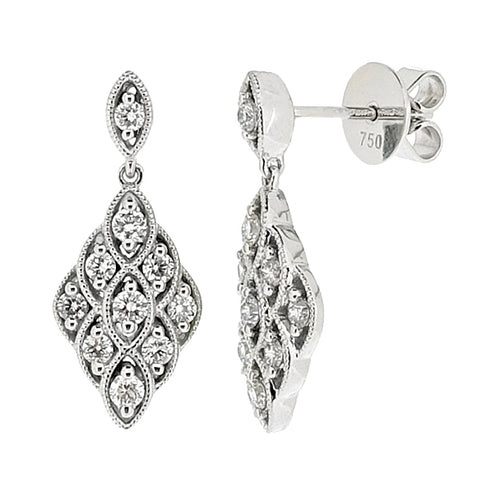 Diamond cluster drop earrings in 18ct white gold, 0.57ct