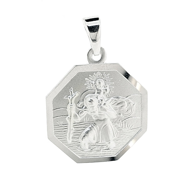 Hexagonal St Christopher pendant in silver