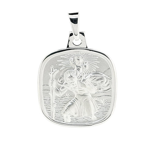 Cushion shape St Christopher pendant in silver