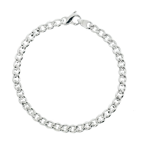 Bevelled curb bracelet in 9ct white gold