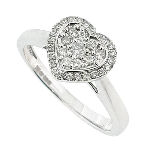 Diamond heart shape cluster ring in 9ct white gold, 0.25ct