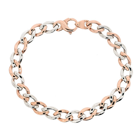 Round curb link bracelet in 9ct rose and white gold
