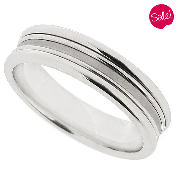 Matt and polished finish band ring in palladium